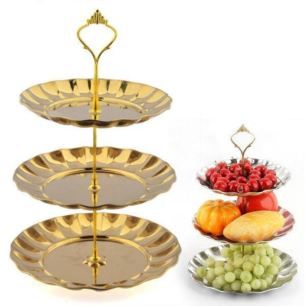 HIPSTEEN 3 Tier Stainless Steel Gold Cake Stand Top Quality Circle Round Display Wedding Birthday Party Cupcake Standaard