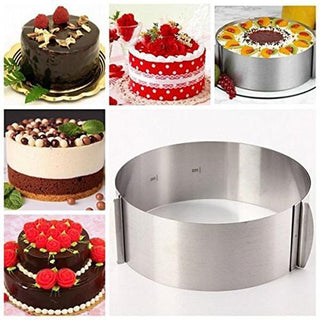 Stainless Steel Circle Mousse Ring Baking Tool, Adjustable Bakeware