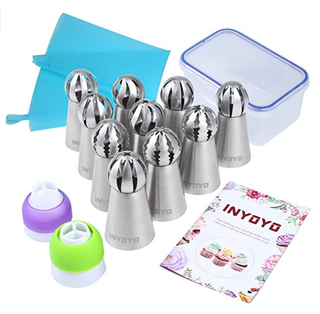 10pc Russian Ball Piping Nozzles + 1 Silicone Pastry Bag + 2 Tri Color Couplers