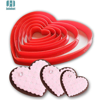 6pcs/set Heart Shaped plastic cookie cutter,  biscuit stamp, Sugar Craft cake decorations