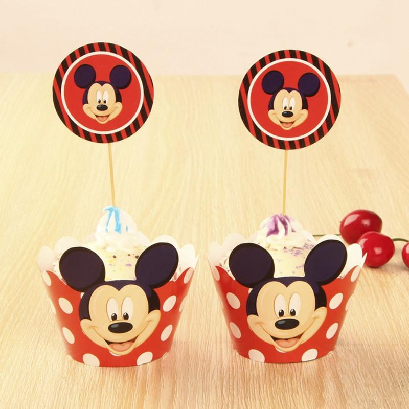 24pcs of Mickey Mouse Cupcake Wrappers and Toppers