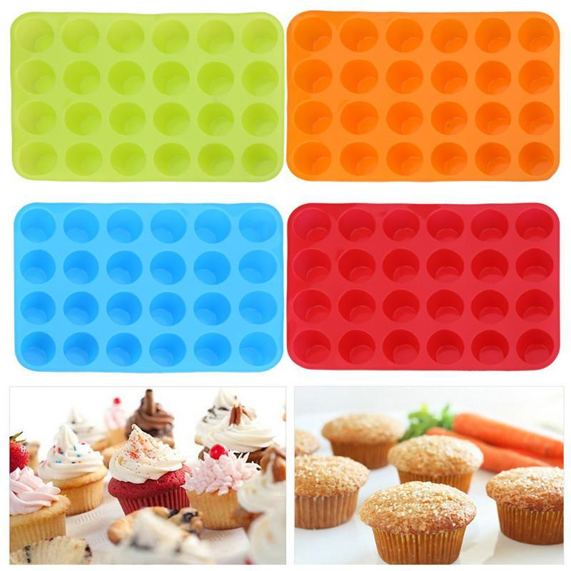24 Integrated Circular Cup Non-Stick Silica Gel Muffin Bakeware