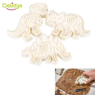 3pcs/set Dinosaur Shaped Cookie Cutter Mold 3D Biscuit Sugarcraft Dessert Baking Mold tool