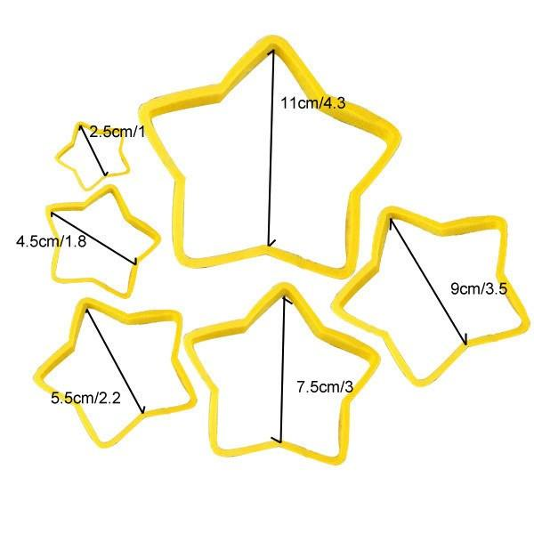 6pcs/set Star Shaped plastic Cake mold, cookie cutter,  biscuit stamp
