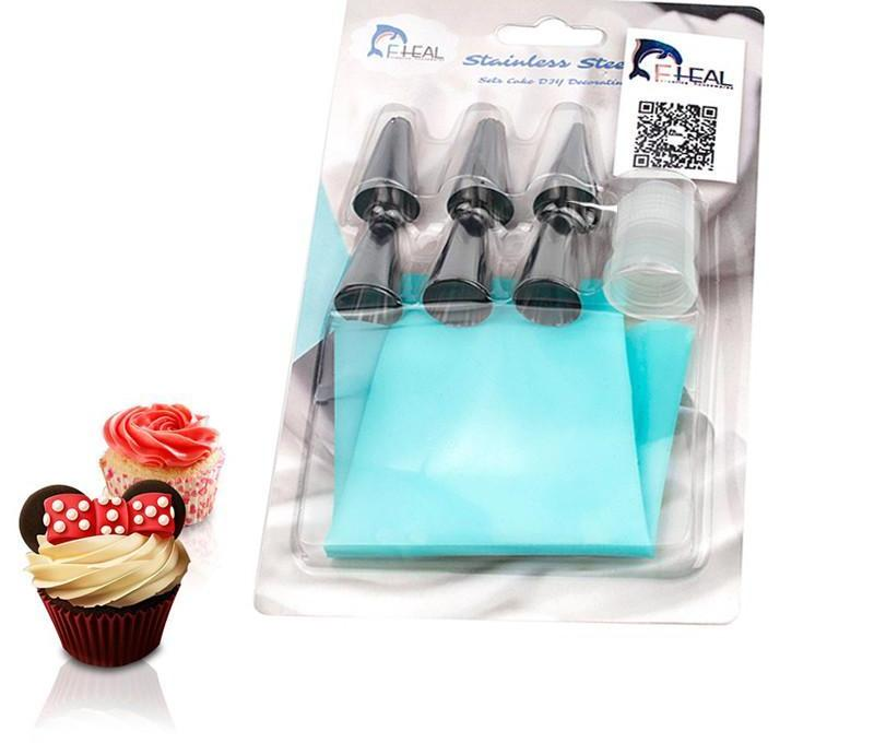 7 PCS Silicone Icing Pipe Bags with 6 Pcs Stainless Steel Nozzles