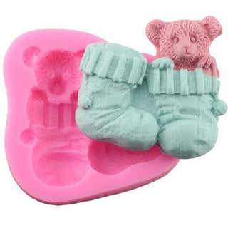 Christmas Socks Gloves Bear Silicone Mold