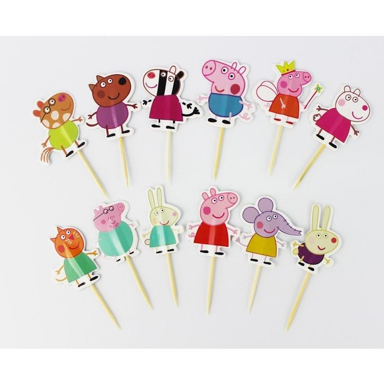 24 Pcs Peppa Pig Characters Cake Toppers