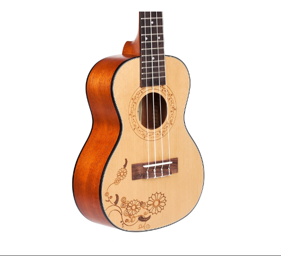 MAKANUMUSIC Concert Ukulele with Gig Bag,Spruce with Tattoo and AQUILA Strings