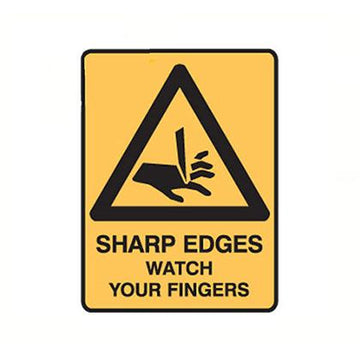 Sharp Edges Watch Your Fingers Safety Sign - SFI Orbimax