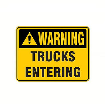 Warning Trucks Entering Safety Sign