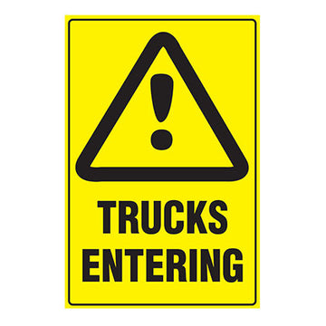 Trucks Entering - Safety Sign - SFI Orbimax