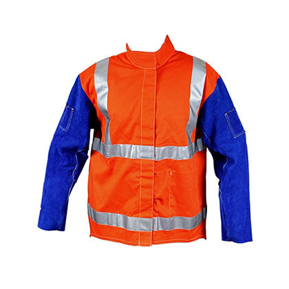 Welding Jacket With Leather Sleeves & Harness Flap - SFI Orbimax