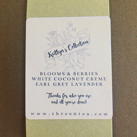 Three 6 Tea Wedding Gift Set Custom Label