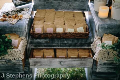 Three 6 Tea Wedding Favours Photo: J Stephens Photography