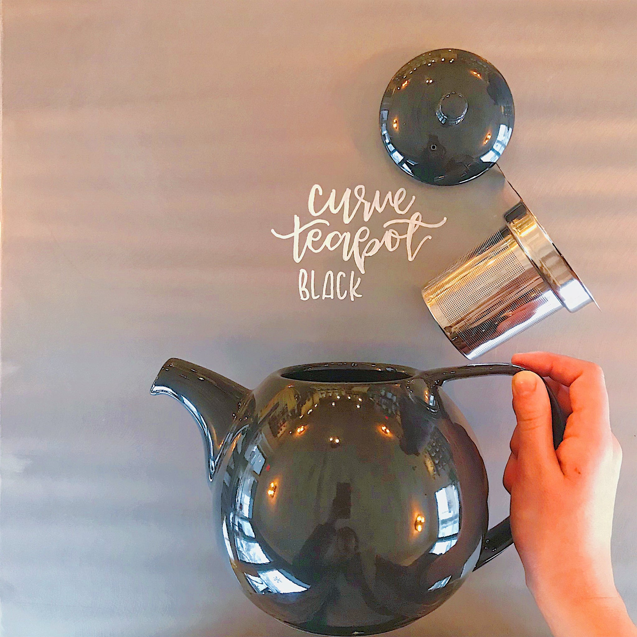 Three 6 Tea Black Curve Teapot