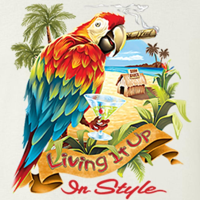 Living It Up In Style - Parrot T Shirt Short Sleeve T-Shirt Calico Ink