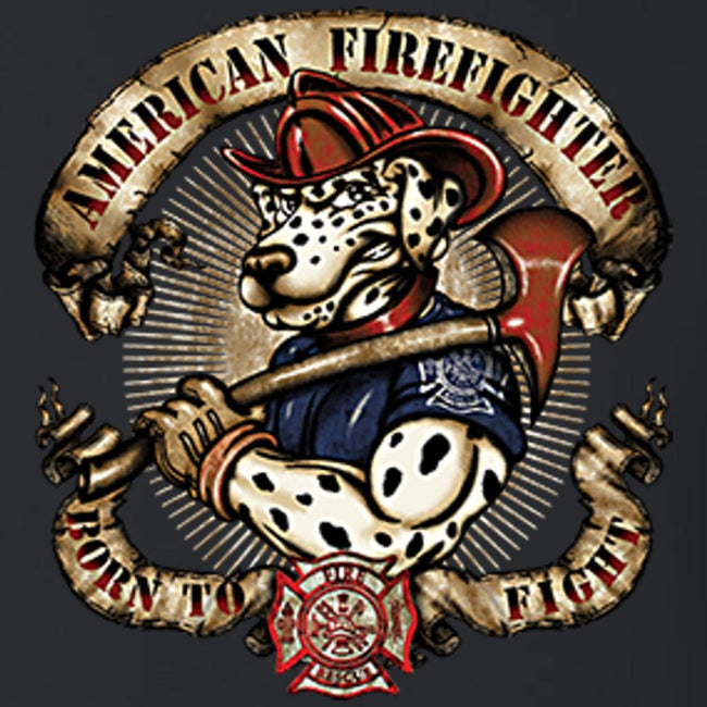 American Firefighter Dalmation T Shirt Short Sleeve T-Shirt Calico Ink