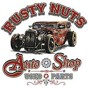 Rusty Nuts Auto Shop T Shirt by Calico Ink