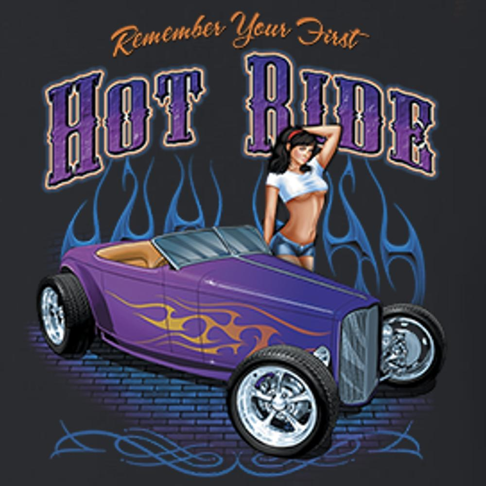Remember Your First Hot Ride (Hot Rod) T Shirt Short Sleeve T-Shirt Calico Ink