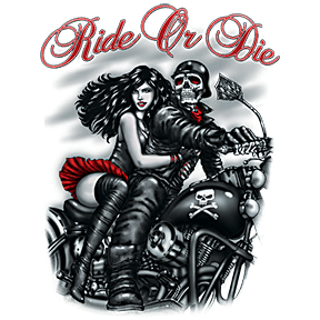 Ride or Die Skull Motorcycle T Shirt by Calico Ink