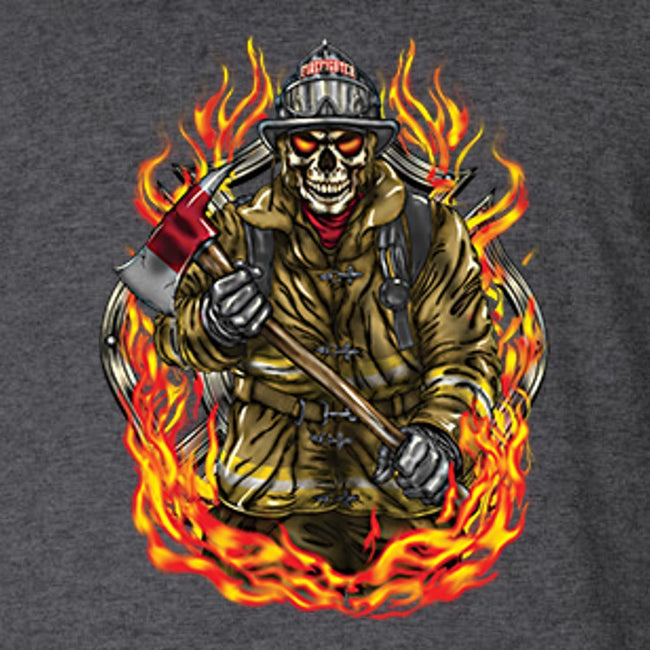 Firefighter Skull In Flames T Shirt by Calico Ink