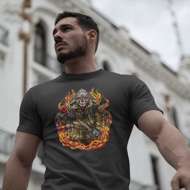 Firefighter Skull In Flames T Shirt Short Sleeve T-Shirt Calico Ink