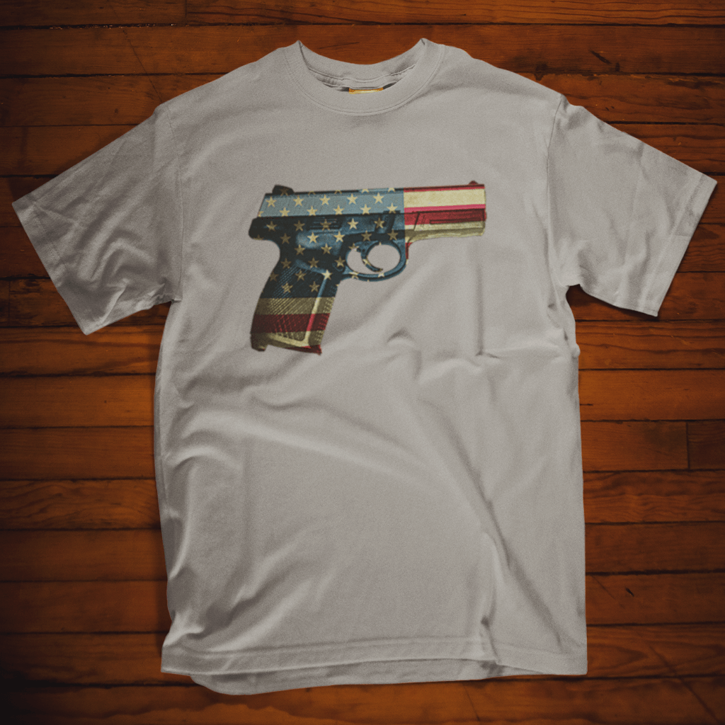 American Flag Pistol - Gun T Shirt Short Sleeve T-Shirt Calico Ink