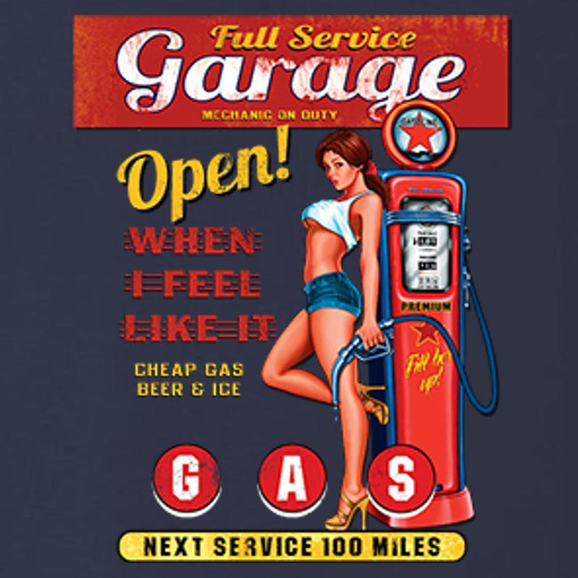 Full Service Garge Navy Blue T Shirt by Calico Ink