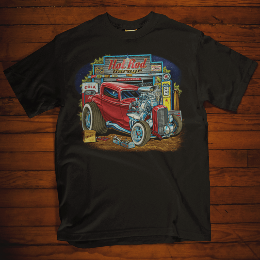 Hot Rod Garage Black T Shirtby Calico Ink