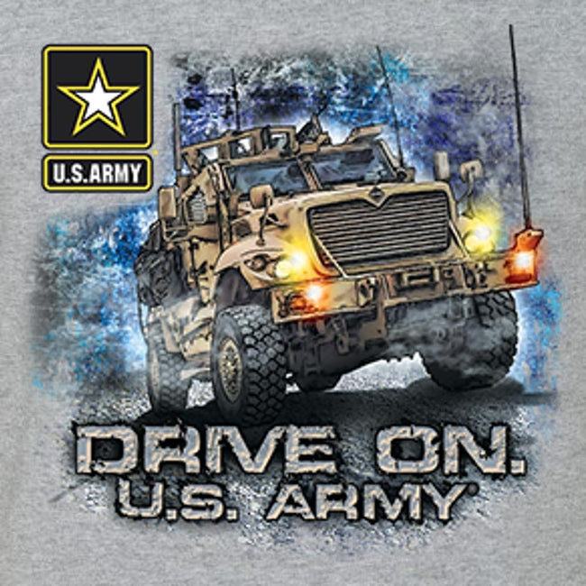 Drive On US ARMY T Shirt Front And Back Design