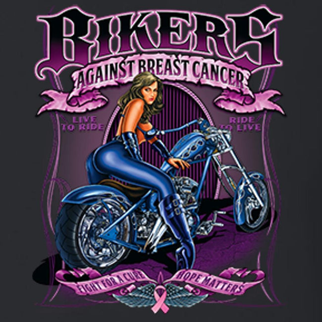 Bikers Against Breast Cancer T Shirt Short Sleeve T-Shirt Calico Ink