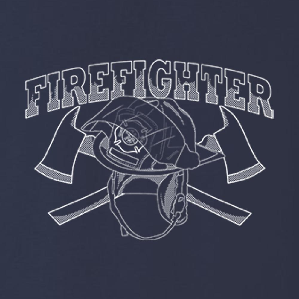 Firefighter Helmet Crossed Axes T Shirt by Calico Ink