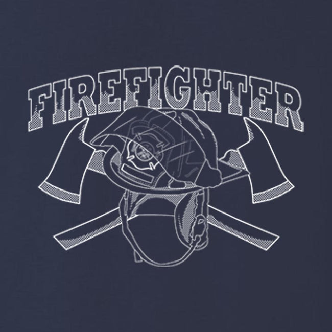 Firefighter Helmet Crossed Axes T Shirt Short Sleeve T-Shirt Calico Ink