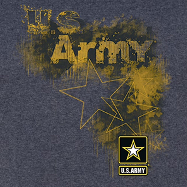 US Army Stars and Logo T Shirt Vintage Heather Navy