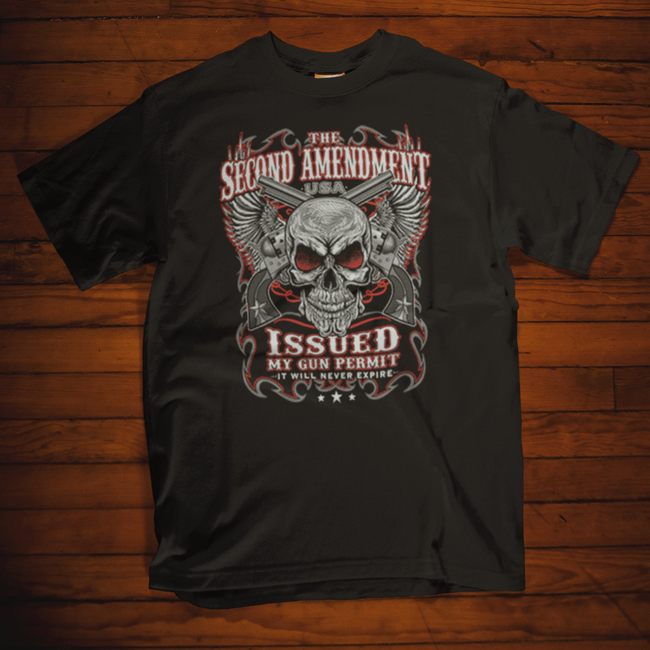 The Second Amendment Issued My Gun Permit T Shirt by Calico Ink