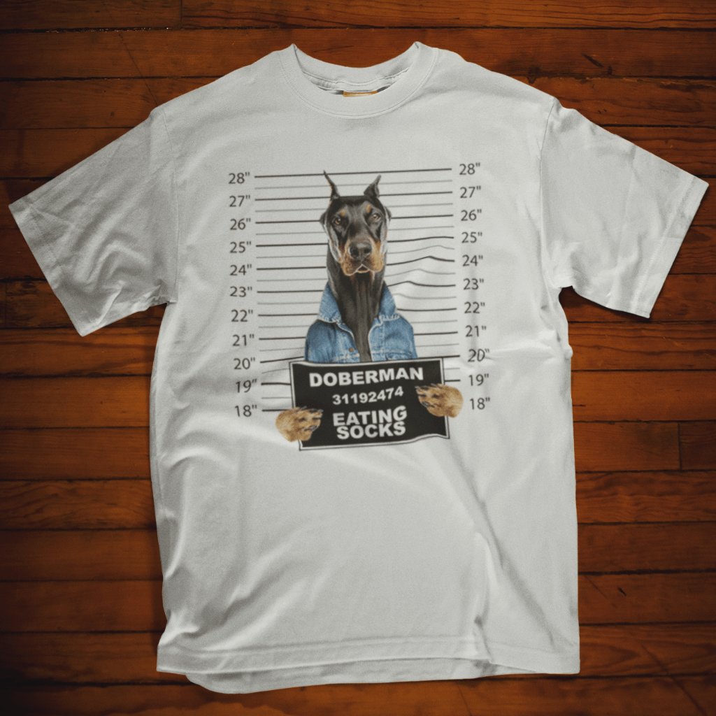 Doberman Mugshot Eating Socks T Shirt