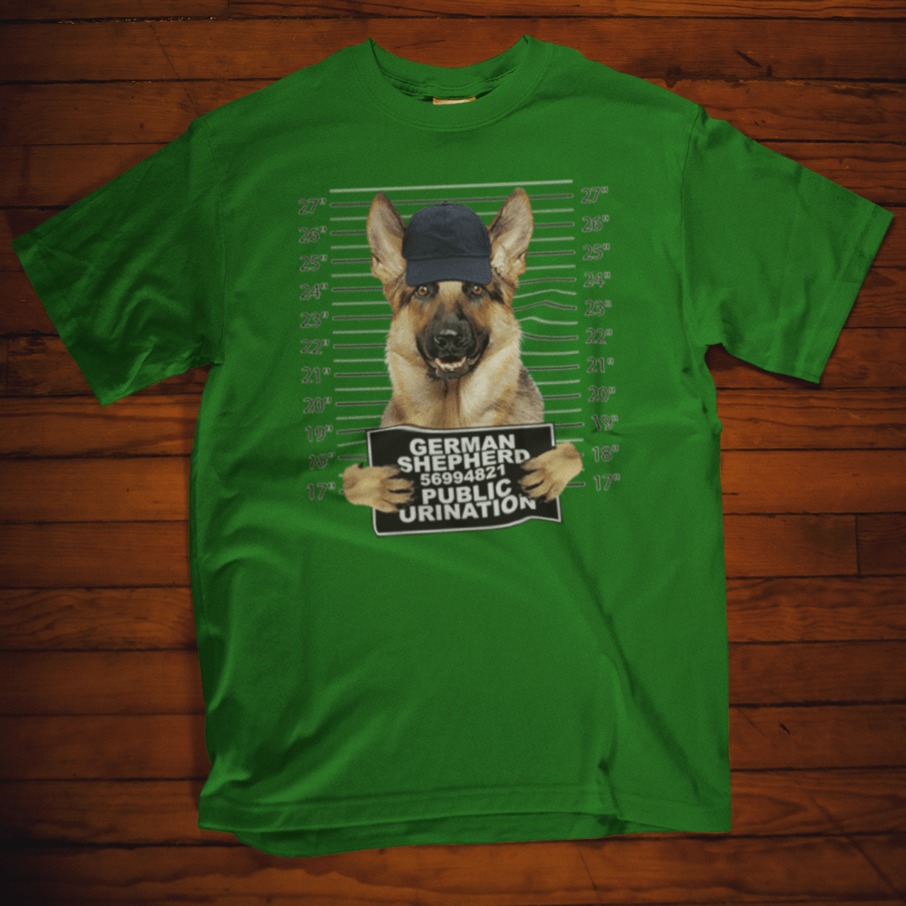 German Shepard Public Urination Mugshot T Shirt by calico ink