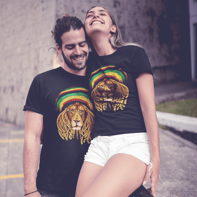 Rasta Lion Wearing Glasses T Shirt by Calico Ink