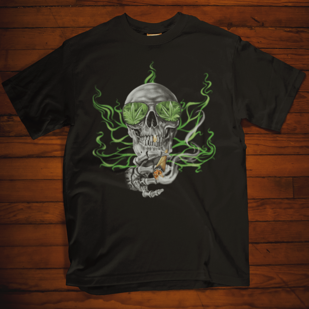 Skull With Glasses Smoking Calico Ink Black T Shirt