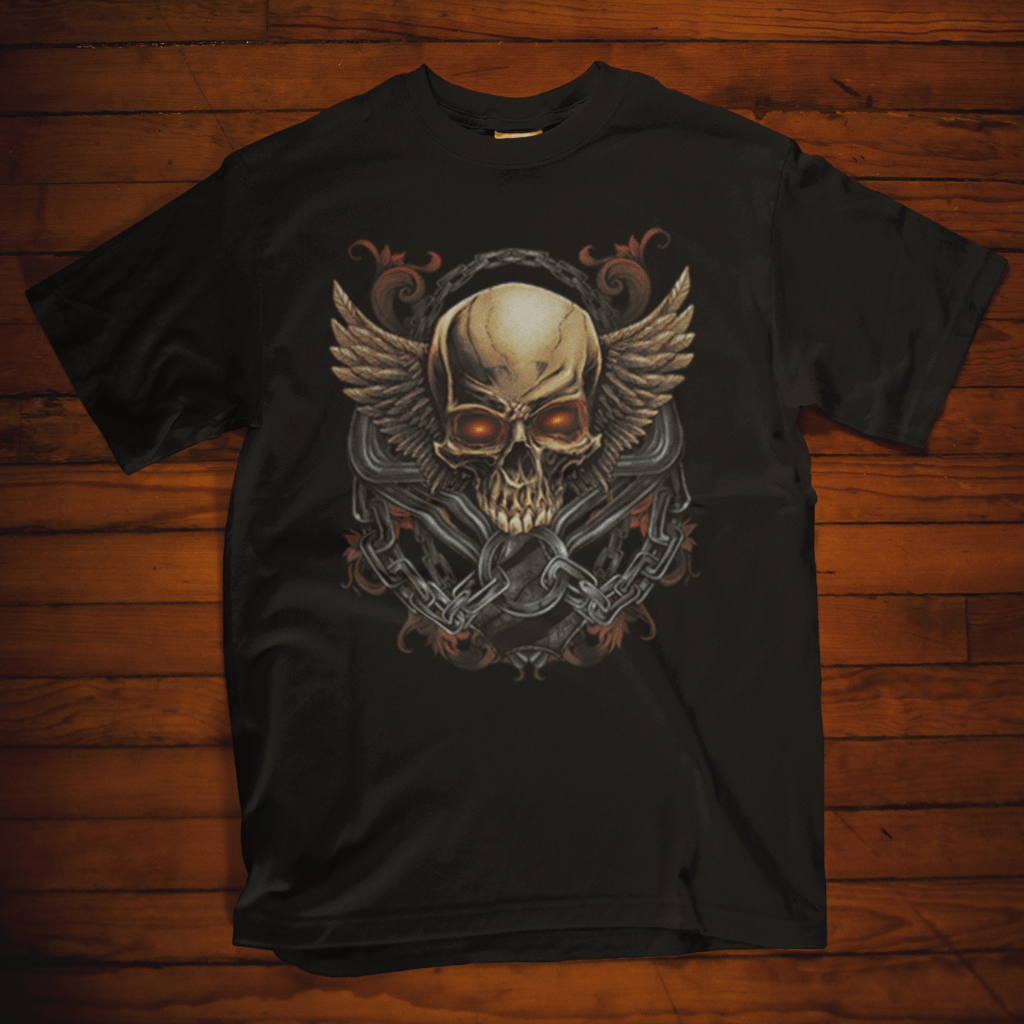 Skull And Wings T Shirt by Calico Ink