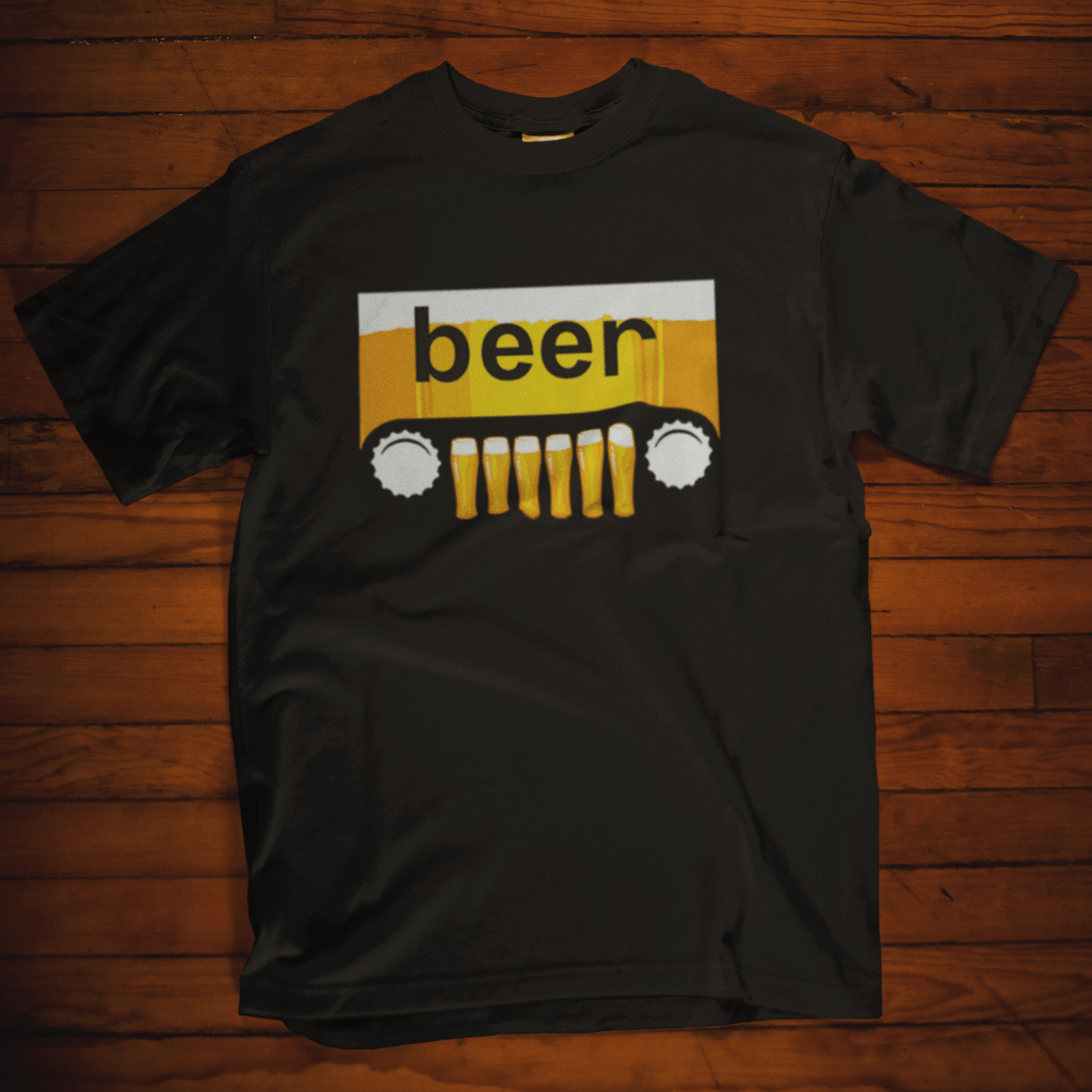 Beer Jeep T Shirt by Calico Ink