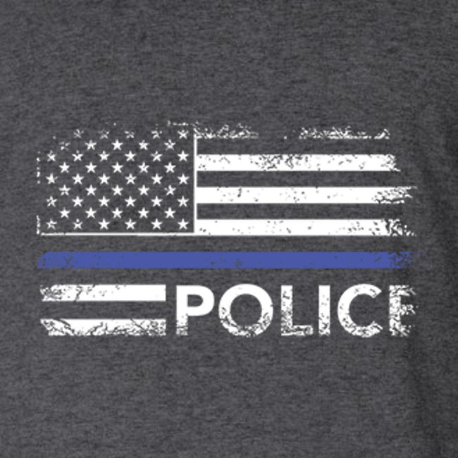 Police Distress Flag Front and Back T Shirt Short Sleeve T-Shirt Calico Ink