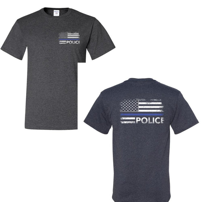 Police Distress Flag Front and Back T Shirt by Calico Ink