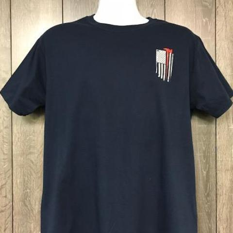Firefighter American Flag Red line Axe T Shirt front by Calico Ink