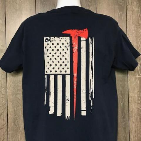 Firefighter American Flag Red line Axe T Shirt Short Sleeve T-Shirt Calico Ink