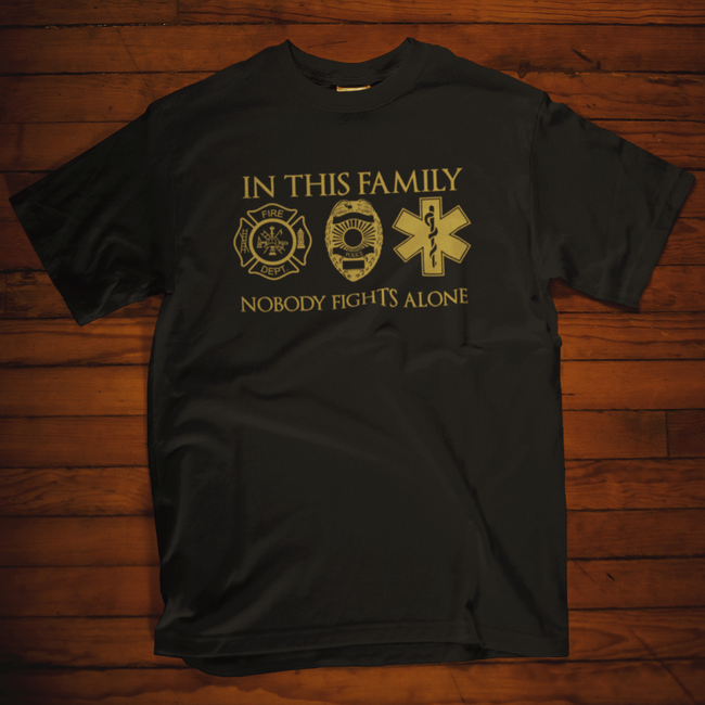 In This Family, No One Fights Alone T Shirt by Calico Ink
