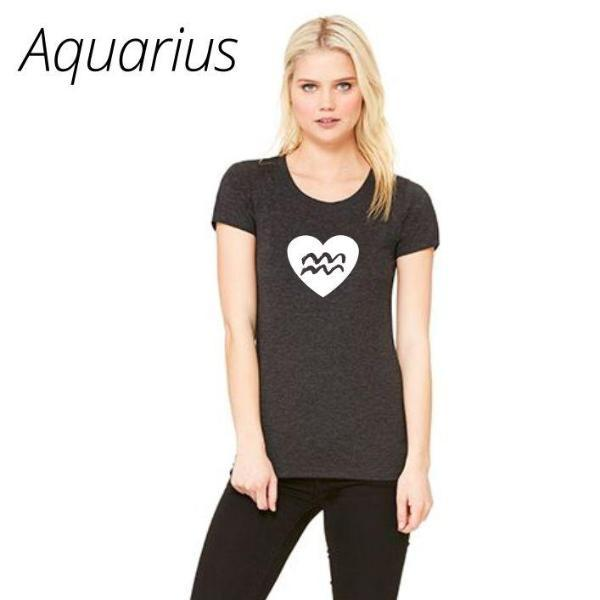 Aquarius Heart Zodiac Sign T Shirt by Calico_ink