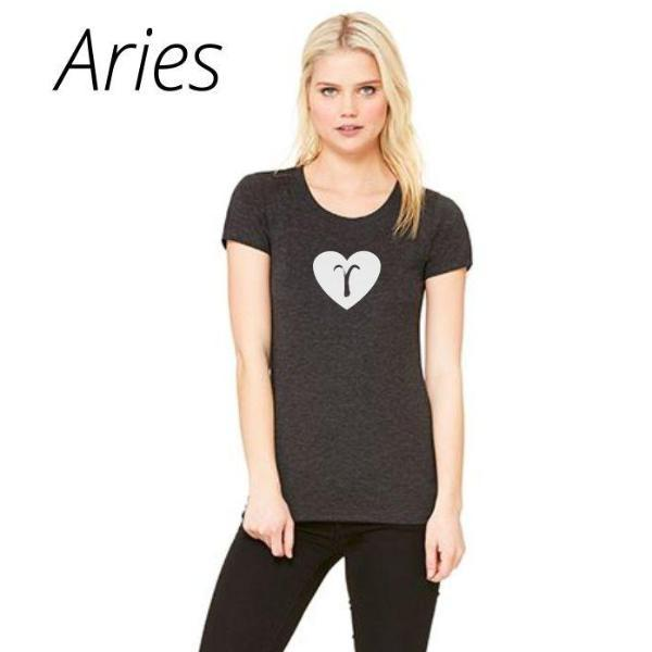 Aries Heart Zodiac Sign T Shirt by Calico_ink