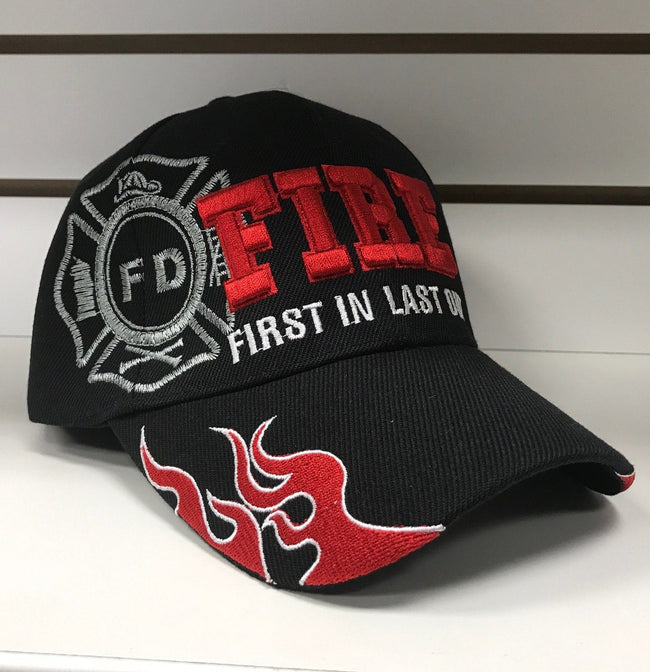 Fire Black Hat - First In Last Out Hats Calico Ink
