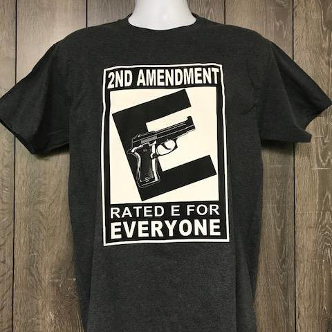 "2nd Amendment Rated ""E"" For Everyone - Pistol T Shirt Short Sleeve T-Shirt Calico Ink"